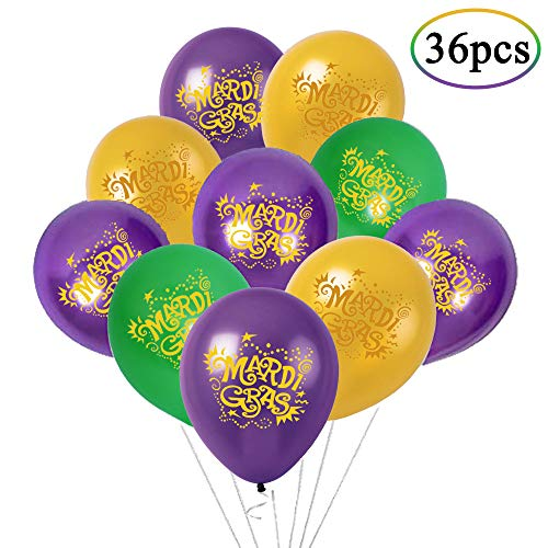 Mardi Gras Balloons - 36Ct Mardis Gras Party Supplies Decorations ()