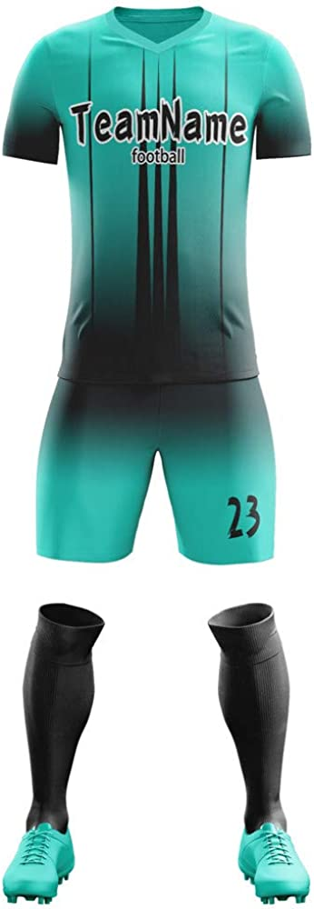 Custom Soccer Jersey Uniform Personalized Team Shirts & Shorts-Printed Design Name & Number for Men/Women/Youth