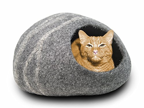 MEOWFIA Premium Felt Cat Bed Cave (Medium) - Handmade 100% Merino Wool Bed for Cats and Kittens (Dark Grey/Medium)