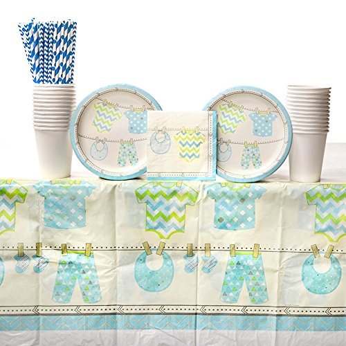 - Boy Baby Shower Supplies | Bundle of Joy Party Supplies Pack for 16 Guests | Straws, Dessert Plates, Beverage Napkins, Table Cover and Cups | Blue Baby Shower Plates and Blue Baby Shower Napkins