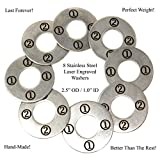 "Laser Engraved Stainless Steel Replacement 2-1/2"" Washer Toss Pitching Game Washers (Set of 8)"