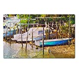 Liili Premium Large Table Mat 28.4 x 17.7 x 0.2 inches original oil painting of old boat moored at moreton bay brisbane Photo 7079634