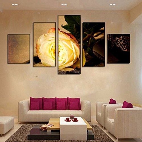[LARGE] Premium Quality Canvas Printed Wall Art Poster 5 Pieces / 5 Pannel Wall Decor Gold Rose Flower Painting, Home Decor Pictures - With Wooden (Rose Flower Paintings)