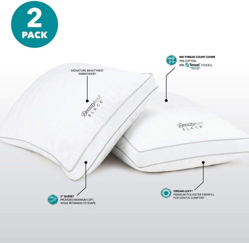 Beautyrest Black Luxurious Down Alternative Pillows (King Size) 2-Pack Dream-Loft Fiber