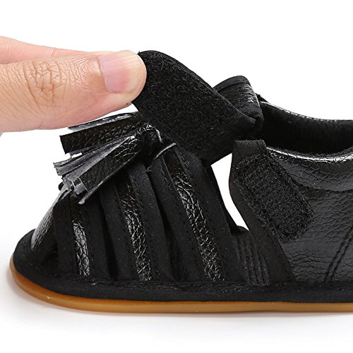 Juleya Las sandalias de las borlas de las muchachas de los bebés del bebé recién nacido anti-deslizan los primeros zapatos que caminan Black 12-18M negro
