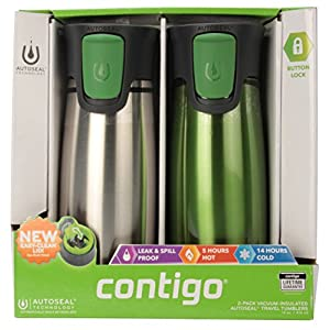 Contigo 2-Pack Vacuum-Insulated Autoseal Travel Tumblers with Easy Clean Lid, Stainless/Citron