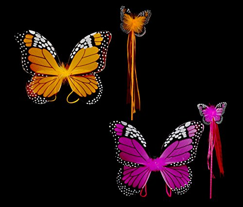 Mozlly Value Pack - Fuchsia AND 18 inch Orange Monarch Butterfly Wings and Wand 2pc Sets for Children - Costume Accessory - Item #K110011-110012 ()
