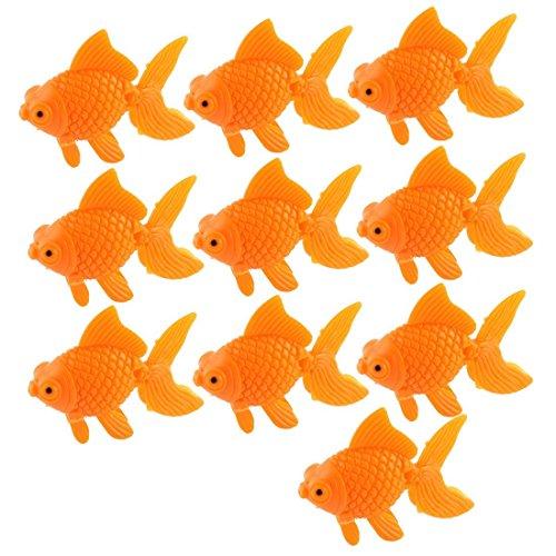 Anndeeson 10pcs Aquarium Artificial Goldfish Fish Tank Decoration Ornament - Orange