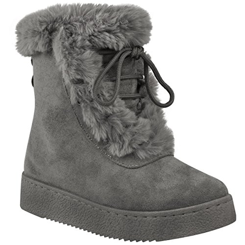 Fashion Thirsty Womens Flat Faux Fur Winter Ankle Boots Casual Winter Boots Size Grey Faux Suede K6VOGKnB