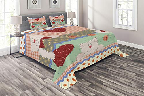 Ambesonne Shabby Flora Coverlet, Funny Teddy Bears with Hearts in Patchwork Style Kids Theme Design Print, 3 Piece Decorative Quilted Bedspread Set with 2 Pillow Shams, Queen Size, Red Teal
