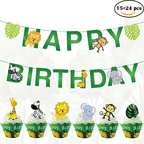 Leaves Happy Birthday Decoration Set with 19pcs Animal Banner 24pcs Cupcake Toppers and 24pcs Wrappers for Woodland Garland Forest Theme Birthday Festival Party (Happy Birthday Jungle)
