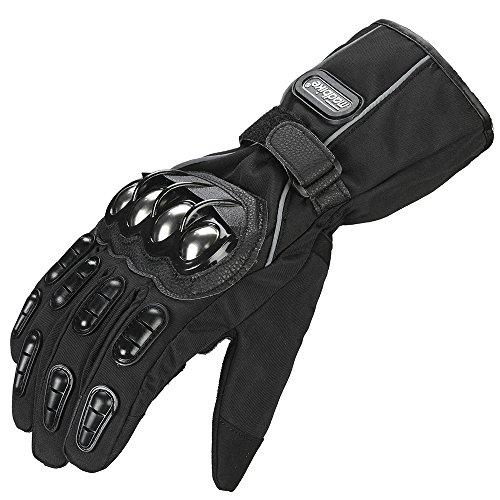 ILM Alloy Steel Motorcycle Riding Gloves Warm Waterproof Windproof for Winter Use (M, BLACK(WINTER))