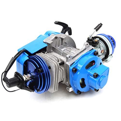 49cc 52cc Big Bore Pocket Bike Engine with Performance Cylinder CNC Engine Cover Racing Carburetor DIY Engine BLUE:
