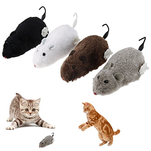 Occitop 4 Pcs Cat Dog Pet Clockwork Mouse Toy Wind Up Clockwork Racing Cute Rat Mechanical Moving Funny Toy (4 Pcs Mice) (Mouse Up Toy Wind)