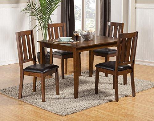 Alpine Furniture 5248 5 Piece Pratt Dining Set 5 Alpine Leather Chair