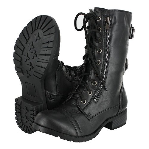 Soda Dome Mid Calf Height Women's Military / Combat Boots, Black, 8.5 (Womens Military Boots)