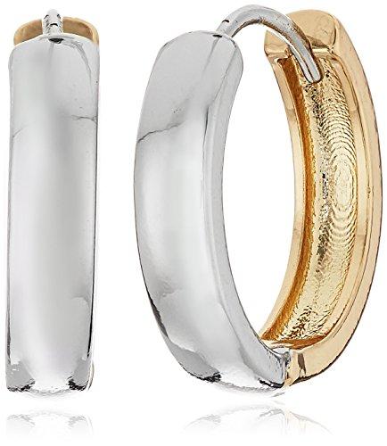 Reversible Huggie Earrings (BCBGeneration Rhodium/New Gold Two Tone Huggie)