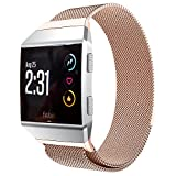 PEYOU Band Compatible for Fitbit Ionic Smartwatch 2017, Luxury Milanese Magnetic Loop Stainless Steel Strap with Unique Magnet Lock Perfect for Adjusting Watchband Easily