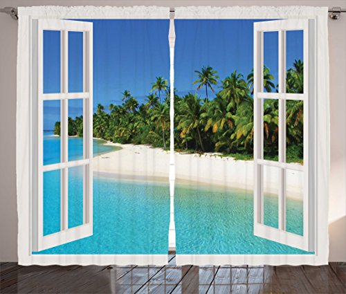 Ambesonne Turquoise Curtains, Ocean Paradise Island View from Gazebo Palm Tree Beach Theme Pictures Arts, Living Room Bedroom Window Drapes 2 Panel Set, 108 W X 84 L Inches, Blue Green White