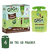 GoGo squeeZ Applesauce on the Go, Apple Cinnamon, 3.2 Ounce (4 Pouches), Gluten Free, Vegan Friendly, Healthy Snacks, Unsweetened Applesauce, Recloseable, BPA Free Pouches