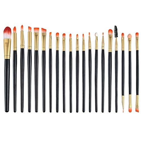 Fashion & Lifestyle Makeup Brush Set - Professional Kabuki Beauty Tools Foundation Blending Blush Contour Concealer Eyeliner Face Powder Cosmetics Brushes Kit, Golden Black (Angled Q Tips)