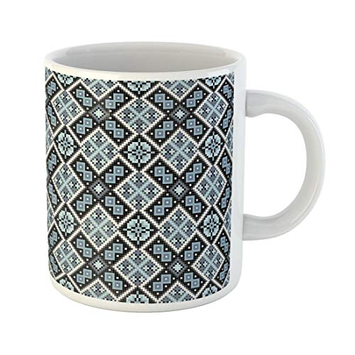 Tarolo 11 Oz Mug Coffee Mug Ceramic Tea Cup Blue Culture Embroidered Good Like Cross Stitch Ethnic Ukraine Pattern Abstract Black Large C-handle Family and Office Gift (Cultures Cross Stitch)