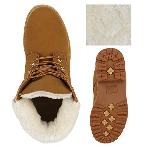 Stiefelparadies Damen Worker Boots Stiefeletten Outdoor Warm Gefüttert Schuhe Flandell Hellbraun Weiss Gelb