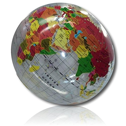 """(ULTRA Durable & Custom {16"""" Inch} 12 Bulk Pack of Mid-Size Inflatable Beach Balls for Summer Fun, Made of Lightweight FLEX-Resin Plastic w/ Transparent Globe Sphere World Geography Style)"""