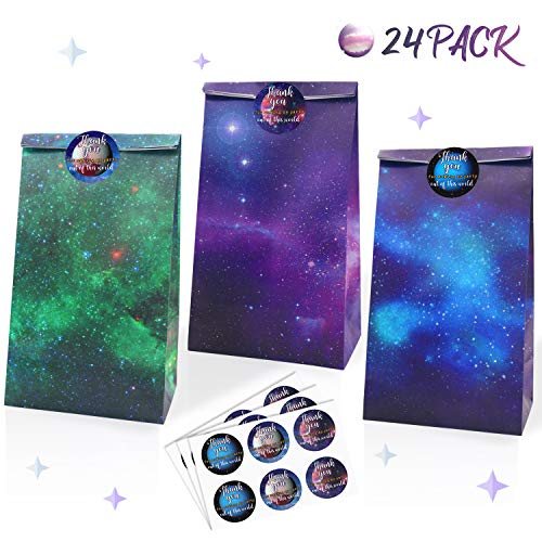 Space Birthday Party Ideas (Galaxy Themed Party Supplies- Outer Space Theme Party Goodie Bags & Thank You Stickers- Solar System Party Favors Bags for Kids, Teachers Day Rewards- Kraft Paper Treat Bags Set of)