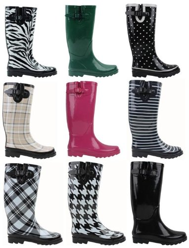 New Sunville Brand Women's Rubber Rain Boots Multiple Styles Available
