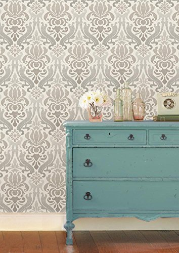 Brewster Home Fashions NuWallpaper Grey Nouveau Damask Peel and Stick Wallpaper - Art Nouveau Wallpaper