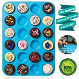 Mini Muffin Pan 24 Cups, Amison Silicone Cookies Cupcake Bakeware Tin Soap Tray