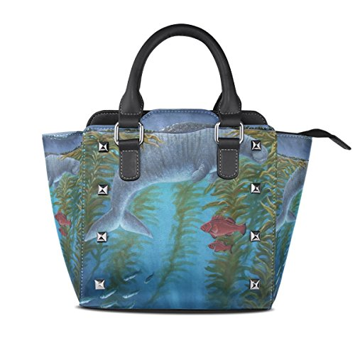 PU Bags Top Cool Handbags Fishes Shoulder With Single Red Cow Handle LIANCHENYI Bag Sea Leather Women Tote Crossbody Messenger For TqXwEIfd
