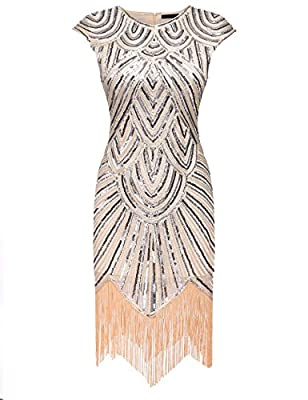 Fanala Women's 1920s Art Deco Embellished Fringe Tassels Hem Party Flapper Dress
