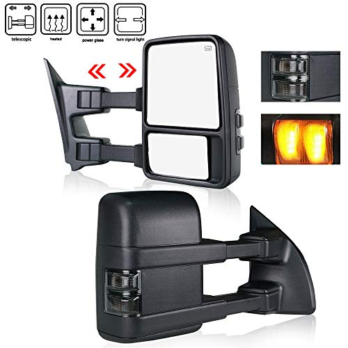 - Spead-Vmall New Towing Mirrors Fits Ford F250 F350 F450 F550 Super Duty 1999-2007 Replacement Side View Tow Mirrors Smoked LED Signal Lights Power Heated Manual Telescoping ( Pair,Black )