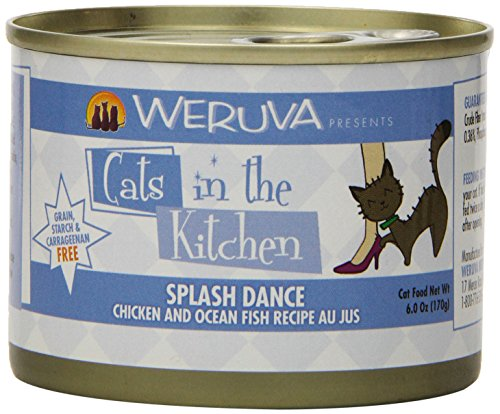 Wild Splash (Weruva Cats in the Kitchen, Splash Dance with Chicken & Ocean Fish Au Jus Cat Food, 6oz Can (Pack of 24))