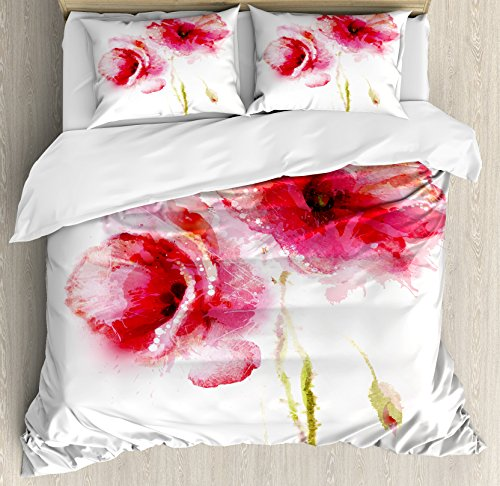 - Ambesonne Flower Duvet Cover Set King Size, Little Red Spring Summer Time Garden Florals Field Poppy Artwork Theme, A Decorative 3 Piece Bedding Set with 2 Pillow Shams, Hot Pink Pale Pink and White