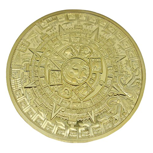 OutTop 1 Piece Mexican Maya Calendar Gold Plated Collectible Commemorative Coins (Gold)