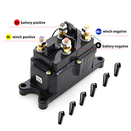 KONDUONE 12V 250A Winch Solenoid Relay Contactor Thumb Truck with 6 Protecting Caps for 4x4 Vehicles UTV ATV Winch Solenoid