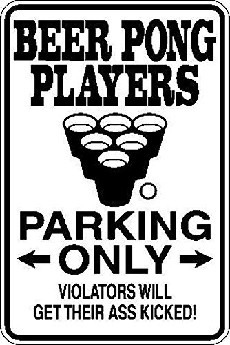 Beer Pong Players Parking Only Sign Vinyl Wall Decal