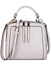 7dea48367e28 BOYATU Women s Leather Handbag Mini Square Shoulder Satchel Purse Crossbody  Bag (White)