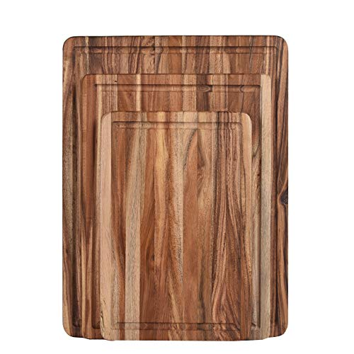 ZESPROKA Thick Acacia Wood Cutting Board with Juice Drip Groove