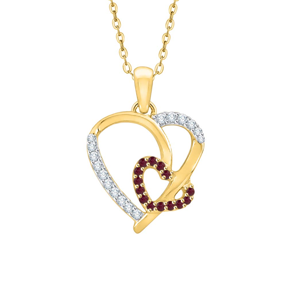 1//6 cttw, J-K, SI2-I1 KATARINA Prong Set Diamond and Ruby Double Heart Pendant Necklace in Gold or Silver