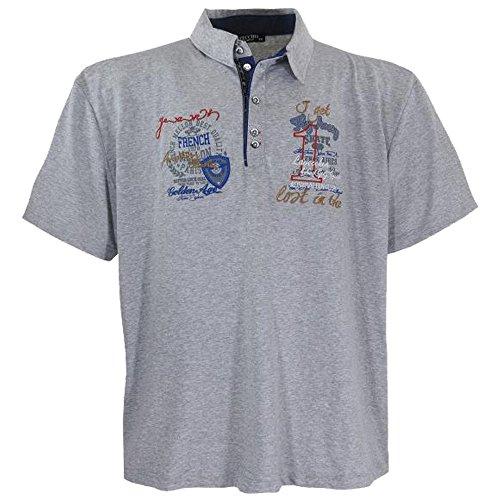 Modernes Herren Poloshirt kurzarm in Übergröße von Lavecchia aus reiner Baumwolle in grau von 3XL bis 7XL