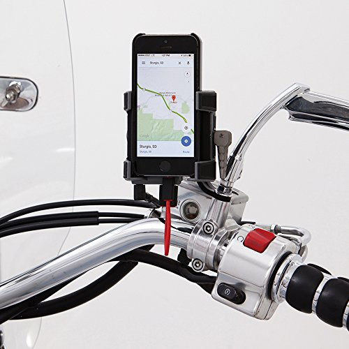 Ciro 50220 Smartphone/GPS Holder (Black Mirror Mount with Charger for All Models (Excluding Flht/Flhx Models))