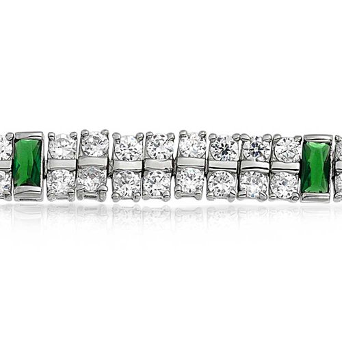 Bling Jewelry Personalized Green CZ 2 Row Tennis Bracelet Simulated Emerald Cubic Zirconia Rhodium Plated Brass 7.5In Custom Engraved