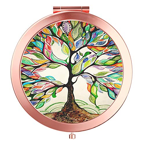Imiao Life Tree Makeup Mirror Rose Gold Compact Mirror Portable Hand Mirror Round Mini Pocket Mirror With 2 x 1x Magnification For Woman,Mother,Girls,Great Gift - Life ()
