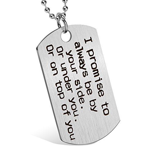 Day Valentines Gift Gift (Valentine's Day Gift for Girlfriend Boyfriend Wife Husband Naughty Words Dog Tag Necklace Personalized Keychain Couples Jewelry Gift for Wedding Anniversary Birthday (♥I promise))