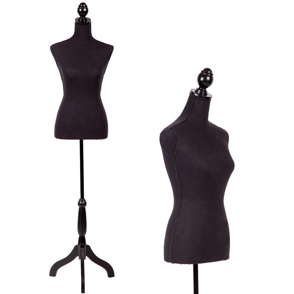 Mr Direct Tripod Wooden Base female Dress mannequin Clothing Display Stand Black by PayLessHere