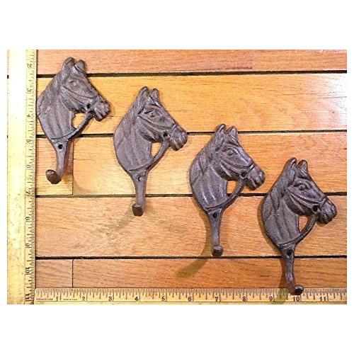 New Set of 4 rustic HORSE HEAD COAT Hat Wall HOOKS 5x2-7/8 cast iron WESTERN style ()